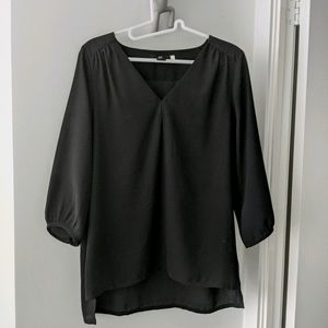 H&M Blouse V Neck Hi Lo Hem 3/4 Sleeve